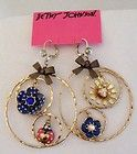 NWT Betsey Johnson Goldtone Yacht Club Flower Ladybug Gypsy Hoop Earrings - http://designerjewelrygalleria.com/betsey-johnson/betsey-johnson-rings/nwt-betsey-johnson-goldtone-yacht-club-flower-ladybug-gypsy-hoop-earrings/