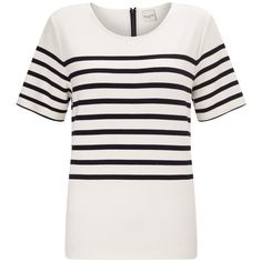 Selected Femme Malmik Striped T-Shirt , Snow White/Black (£15) ❤ liked on Polyvore featuring tops, t-shirts, striped t shirt, striped sleeve t shirt, short sleeve tee, rayon t shirts and select top