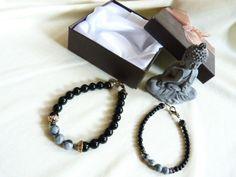 bracelets style ethnique lithothérapie, en pierre semi précieuses, onyx et obsidienne. : Bracelet par zepeel-bijoux