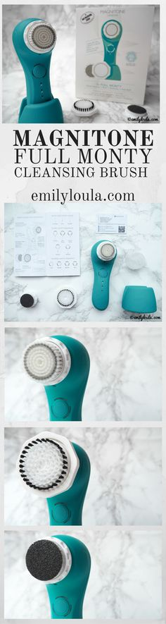 Magnitone Full Monty Skincare Cleansing Brush Review on emilyloula beauty blog. Features 5 different modes and 3 heads - Active Clean Facial Brush Head, Body Exfoliator Brush Head, and a Well Heeled Pedi-Buff Foot Pumice. It's the best multi functional beauty gadget ever!!