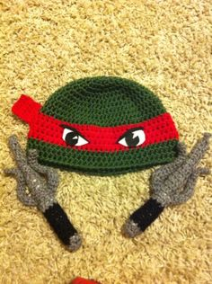 Turtle Power - TMNT Hat and Sai - CROCHET. No pattern.. Gotta figure out how to make this!!