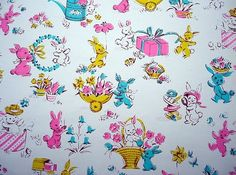 Vintage gift wrap easter bunnies vintage gifts easter and wraps negle Images