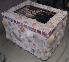 mosaic shell memory box