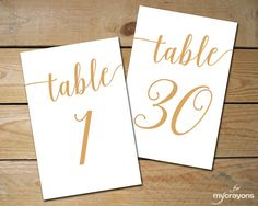 Gorgeous Instant Download Printable Table Numbers 1-30 // Bella Script Caramel Gold Table Number Gold Wedding Decor // 5x7, 4x6 Table Numbers Wedding #wedding #weddingstationery
