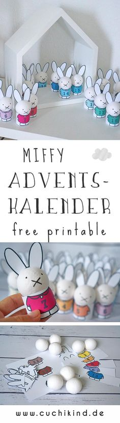 Miffy Adventskalender (free printable + Video) – Cuchikind – The Best DIY Outdoor Christmas Decor Diy Crafts For Adults, Baby Crafts, Diy Crafts For Kids, Diy Bags Holder, Diy Makeup Bag Tutorial, Diy Outdoor Party, Advent Calenders, Hobbies For Kids, Diy School Supplies