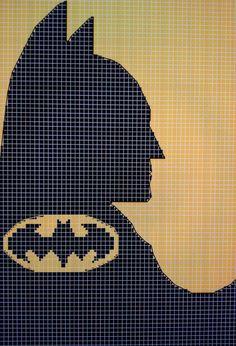 Cross stitch Batman made on KG charts. Cross Stitching, Cross Stitch Embroidery, Cross Stitch Patterns, Crochet Cross, Crochet Chart, Batman Quilt, Batman Crafts, Crochet Batman, Marvel Cross Stitch