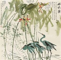 Cranes under Lotus - Huang Yongyu - bstract Expressionism, Ink and wash painting, 1875