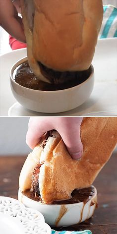 Everyone's favorite crockpot recipe! This French Dip sandwich is perfect for busy nights! Everyone's favorite crockpot recipe! This French Dip sandwich is perfect for busy nights! Slow Cooker Recipes, Crockpot Recipes, Cooking Recipes, Dip Crockpot, Crockpot Meals Easy, Sauce Recipes, Pork Recipes, Healthy Recipes, Tasty Videos