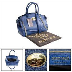 90207e1770  1295 NWT ROBERTO CAVALLI Electric Blue Calf Leather Handbag Purse Shoulder  Bag  fashion  clothing  shoes  accessories  mensaccessories  bags (ebay  link)