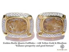 "Golden Rutile Quartz Sterling Silver Cufflinks, 18K Yellow Gold & Rhodium plated, Luxury Model ""Enhance prosperity and good fortune"""