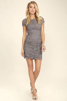 We admire any girl who can put together a great outfit, but honestly, the Hidden Talent Backless Grey Lace Dress makes it easy! This beautiful bodycon dress has sheer cap sleeves and a backless design (with top button). Hidden back zipper/hook clasp.