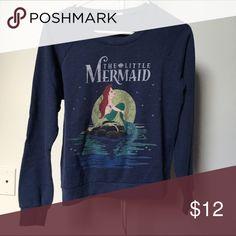 Little mermaid crew neck sweater. Cute navy sweater. Great condition. 62% cotton. Disney Sweaters Crew & Scoop Necks