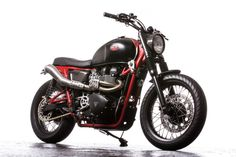Classic style, modern performance: A Triumph Bonneville SE transformed by Down & Out Cafe Racers. Triumph Cafe Racer, Triumph Scrambler, Triumph Motorcycles, Custom Motorcycles, Custom Bikes, Cafe Racers, Triumph Bonneville, Bonneville Motorcycle, Bobber Custom