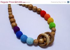 ON SALE NOW Nursing necklace with wooden ring  by EcoBabyMarket