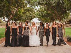Gatsby Bridesmaids Dresses | mix and match elegant black white sequin evening gown bridesmaids dresses