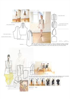 Fashion Sketchbook - fashion design & development board with illustrations, fashion design flats & the final outfits inspired by Japanese, layered fashion - fashion portfolio
