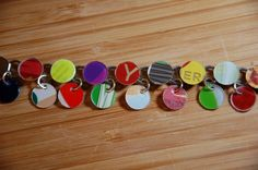 Colorful Upcycled Gift card Silver Dangle by JustPlainJane on Etsy, $14.00