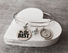 Be the best, Graduation, Gifts for, Inspire, Encouragement, Friend, Bridesmaid, Daughter, Silver Bracelet, Fighter, Grad, Charm Bracelet by SAjolie, $23.75 USD