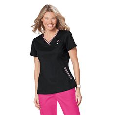 Koi Ashley Top in Black. The Koi Ashley Top is part of the koi scrubs designer range. This scrub top has a simple yet flattering shape.  The neckline is a stylish v-neck with a stripe trim. There are also two pockets and a chest pocket to hold all your belongings. This scrub top is lovely and soft and very comfy, no wonder it is one of our best seller scrub tops.  £24.99 #nursescrubs #dentistuniform #nurses #dentists #blackscrubs