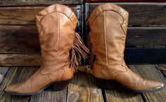 Vintage CODE WEST Cowgirl Brown Leather Western Fringe Cowboy Boots Women's 8.5M #CodeWest #CowboyWestern #Casual