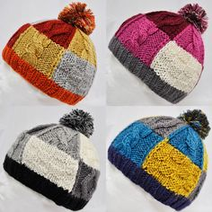 KENMONT PATCHWORK BOBBLE KNITTED WOOLY BEANIE HAT CAP
