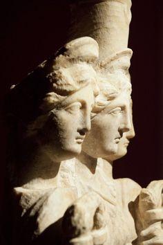 Triple Hecate - detail, Roman statue (marble), 3rd century AD, (Antalya Müzesi, Antalya). [photo by Dick Osseman]