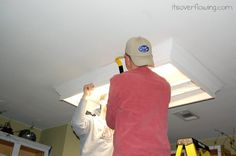 Upgrading Builder Grade Lighting, Adding Recessed Lighting and Painting Cabinets - Kitchen Remodel. @ItsOverflowing.com