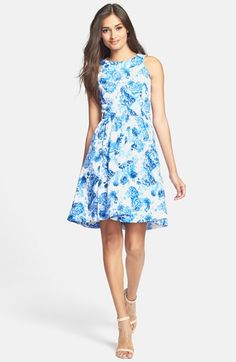 Gabby Skye Brushed Twill Fit & Flare Dress available at #Nordstrom