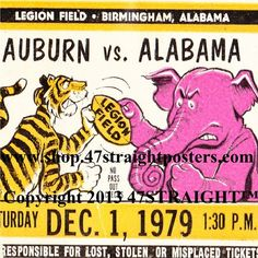 Bear Bryant's only undefeated National Title season!  1979 Auburn vs. Alabama Football Ticket Coasters.™ Made from an authentic 1979 Alabama football ticket. The Crimson Tide won the 1979 National Title in college football.