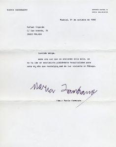 Carta mecanografiada, con firma autógrafa, de María Zambrano a Rafael Inglada, Madrid, 31 de octubre de 1990.