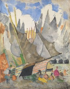 GRISHENKO, ALEXEI (1883-1977) Sailing Boats, signed and dated 1920.Oil on canvas.