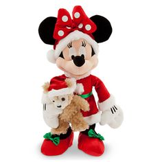 Santa Minnie Mouse Plush with Duffy the Disney Bear - Medium - 16''