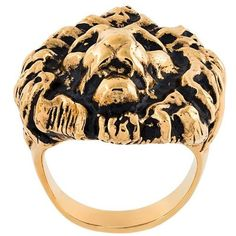 Saint Laurent lion ring ($245) ❤ liked on Polyvore featuring jewelry, rings, metallic, brass jewelry, lion jewelry, yves saint-laurent ring, lion ring and brass ring