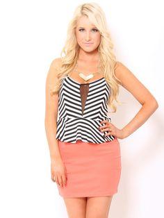 #stylesforless ... Stripe #Peplum #Dress