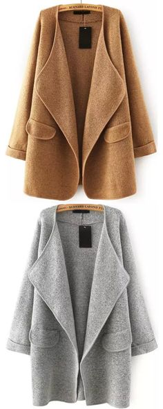Keep warm and fashion with sweater coat. Shein have more discount .Khaki Lapel Long Sleeve Loose Sweater Coat.