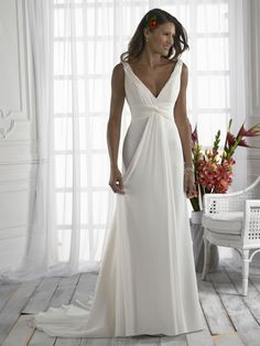 V- neckline chiffon empire waist wedding gown - take the train away and you have a beautiful evening gown