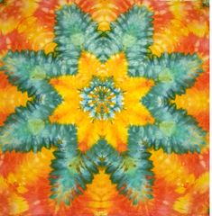 Tie Dye Tapestry by LimSpace. Handmade and one of a kind. Amazing gift for your favorite hippy!  #tiedye #tapestry #wallhanging #trippy #boho #decor #psychedelic #handmade #art #fabric #cosmic #green #orange