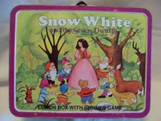 Vtg Snow White Lunch Box w Spinning Game by Ohio Art Co 1970'S  