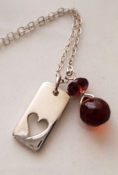 Love Charm Sterling Silver and Garnet