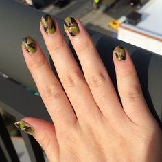 Camo nail art is a perfect look for back to school.
