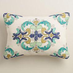 White Cruz Embroidered Outdoor Lumbar Pillow | World Market