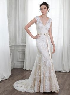 Maggie Sottero - V-Neck A-Line Gown in Lace Sexy Wedding Dresses 003ed7653fba