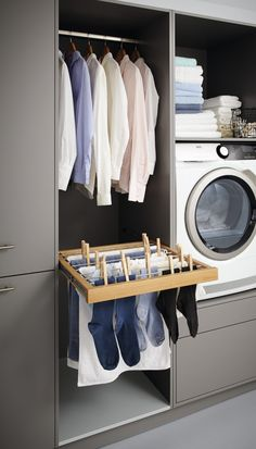 Make everyday tasks simple with these utility room storage ideas. Make everyday tasks simple with these utility room storage ideas. Basement Laundry, Laundry Closet, Small Laundry Rooms, Laundry In Bathroom, Bathroom Storage, Ikea Kitchen Storage, Ikea Laundry Room, Laundry Nook, Laundry Sorting