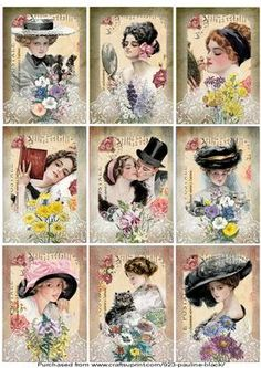 Spring Garden Vintage Ladies ATC s on Craftsuprint designed by Pauline Black - There are two sets of ATC collage sheets available of these lovely Harrison Fisher Ladies (i.e. Summer and Spring). Each sheet has 9 different images which are decorated with lace and country garden flowers.  - Now available for download!