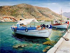 Watercolor painting of Greece - Pantelis Zografos
