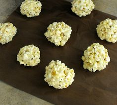 A gluten free, no thermometer needed recipe for popcorn balls.