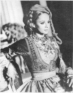Greek actress Aliki Vougiouklaki wearing the traditional Amalia dress. Greek Traditional Dress, Traditional Outfits, Greek Dress, Empire Ottoman, Greece Pictures, Greek Culture, Folk Fashion, Folk Costume, Historical Clothing