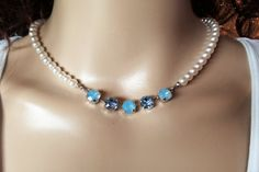 SWAROVSKI BRIDAL NECKLACE, pearls,blue, bridal, bridesmaid, great gift, pearls and crystal, ice blue, designer inspired,dksjewelrydesigns