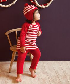 Take a look at this Red Stripe Tunic & Leggings - Infant by Angel Dear on #zulily today!