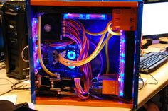Orange blue computer pc tower liquid cooled setup case